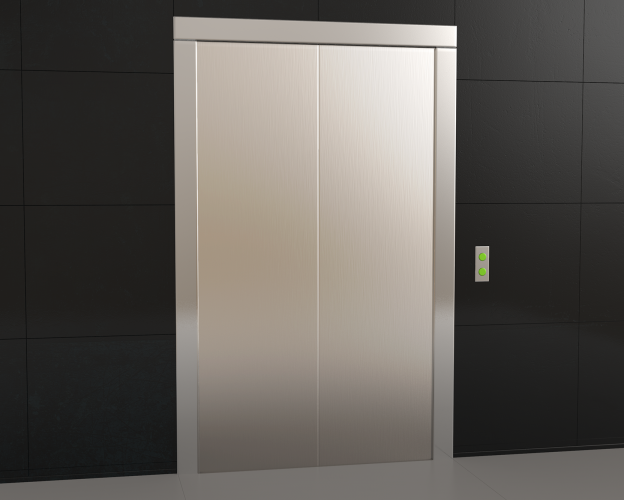 Free Elevator with closed doors blank mockup